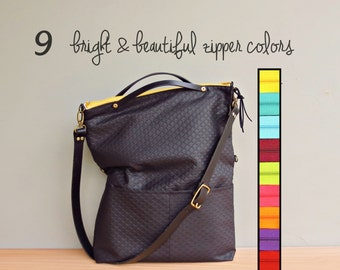 Large Size Tote in Black with Bright Zipper, Convertible Crossbody Purse, Embossed Diamond Quilted Look Messenger Bag with Custom Strap