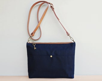 Waxed Canvas Handbag in Nautical Navy Blue with Leather Strap