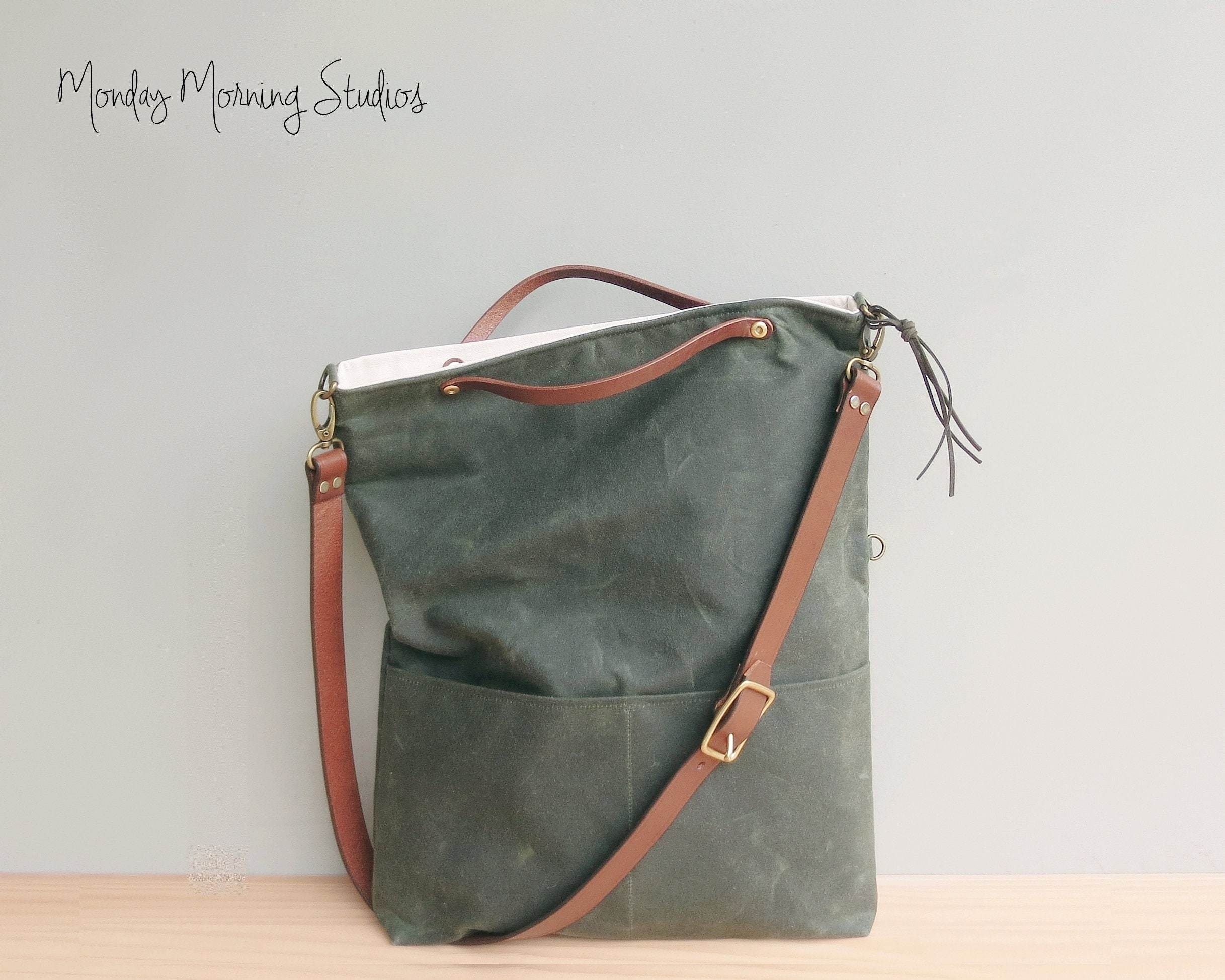 76317d01f3 Convertible Waxed Canvas Tote with Leather Strap in Avocado
