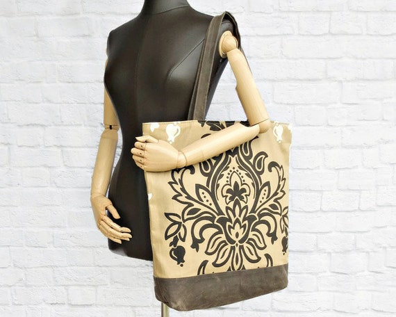 Extra Large Damask Tote with Waxed Canvas Bottom in Tan and  8ed431521