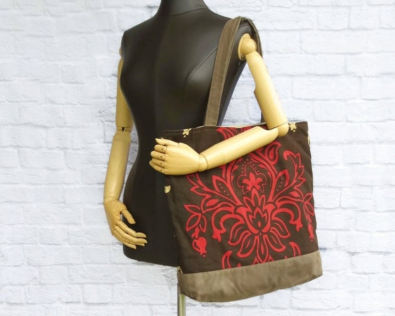 Oversized Damask Womens Overnighter Bag with Waxed Canvas   Etsy 7e8f5e00b7