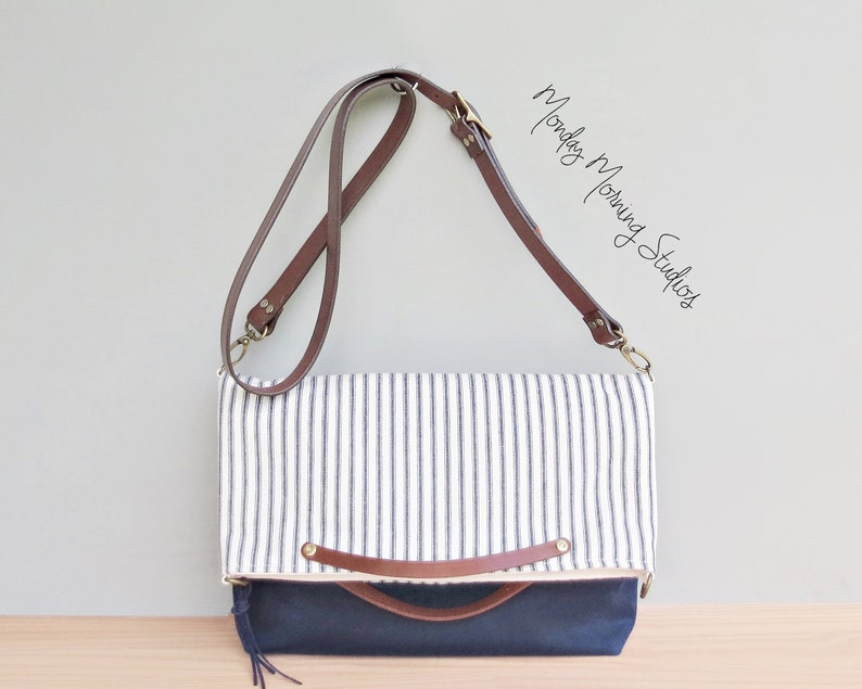 526e363c0a0 Zomer Tote tas in Vintage stijl katoen tikkende en marineblauw | Etsy