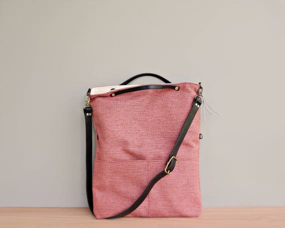 23cf0a6c41 Tweed Foldover Shoulder Bag in Coral Top Handle Convertible