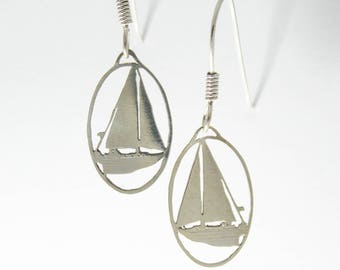 Sail Boat Earrings - silver or bronze - Customizable