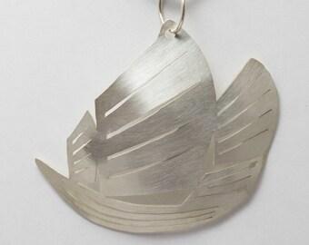 Junk Boat Pendant - silver or bronze