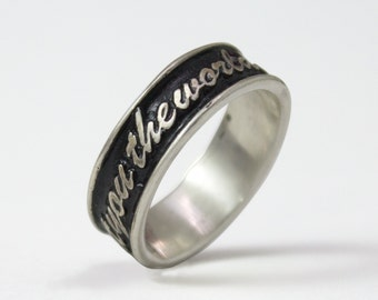 Raised Letters Wedding or Commitment Name or Phrase Ring Custom for you!