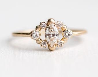 Through the Mist Ring | White Diamond Marquise Engagement Ring in 14k Gold | Elegant Heirloom Diamond Ring | Antique Inspired Design