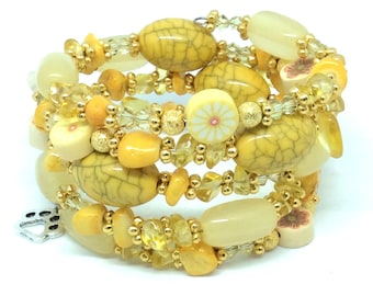 VANILLA SKY Coil Beaded Bracelet by Beading Divas fundraiser