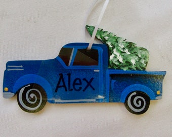 b15978979381 Little Blue Truck. Truck with Christmas Tree Ornament Personalized