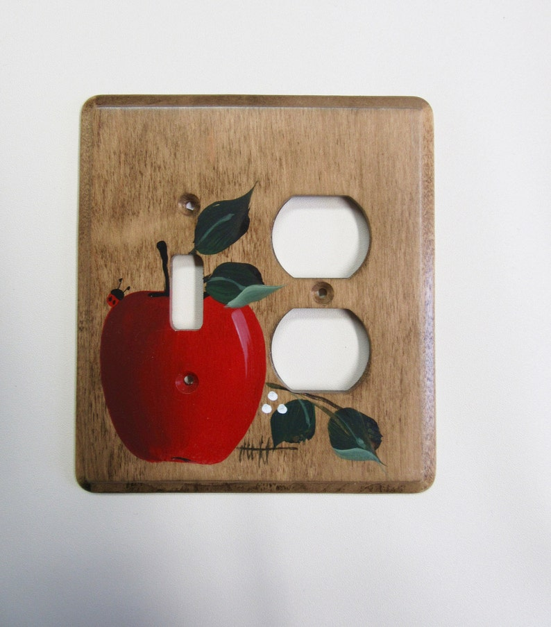 Switch Outlet Combo Wall Plate Red Apple Farmhouse Kitchen