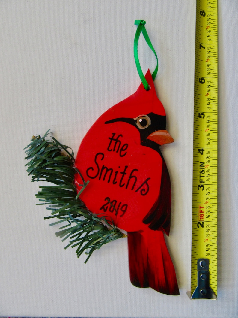 Cardinal Ornament Wood Cardinal Christmas Tree Ornament Personalized Ornament  Package tie