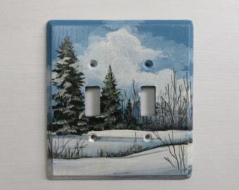 double switch plate.   Winter scene  seasonal wall plate