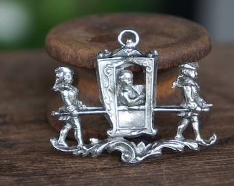Sterling silver Marie Antoinette in a sedan chair pendant or bracelet component for jewelry designers