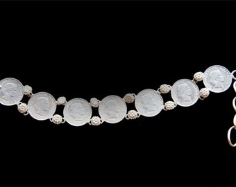 Antique Late 19th Century Silver Coin Bracelet