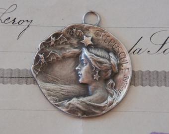 Antique French Solid Silver Twilight Crepsucule Evening Stars Bat Art Nouveau Pendant Armand Bargas