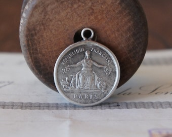 PAIR Solid Silver 19th Century French Paris Medallions