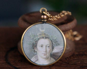 Antique French Picture Pendant Diana The Huntress