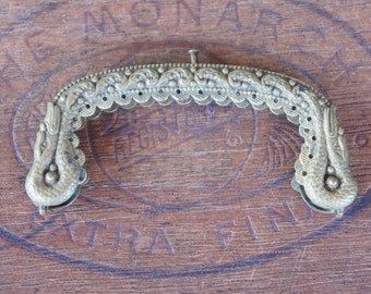 Antique French Early 19th Century Georgian Empire Era Swan Serpent Snake Purse Frame