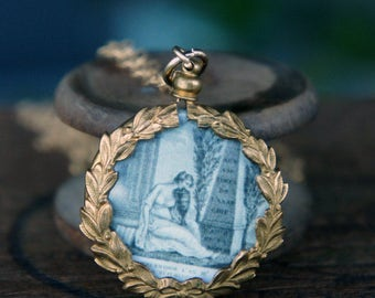 Antique French Picture Pendant Mourning All Seeing Eye