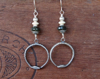 Handmade Earrings Sterling Silver Ouroboros Tail Eater Snake Moss Aquamarine Bone and Silver