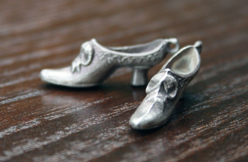 Solid Silver Victorian Lady Shoe Charms Pair Charm Shoe Lady Victorian