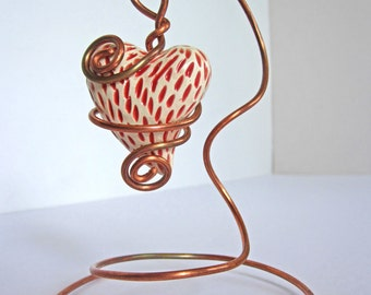 Red and White Ceramic Heart with Copper Wire Stand