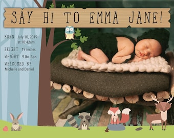 Cute Woodland Creatures Birth Announcement > Printed for you or Digital download