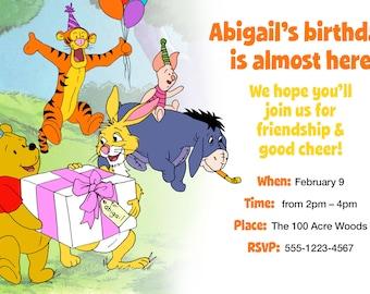 Winnie the Pooh (plus Tigger, Eeyore, Piglet, & Rabbit!) Birthday Invitation > Printed for you or Digital download
