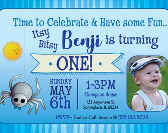 Itsy Bitsy Spider Boy's Birthday Invitation > Printed for you or Digital download