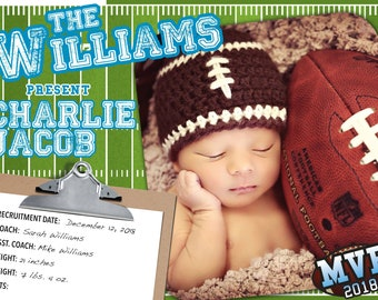 Football Birth Announcement > Printed for you or Digital download