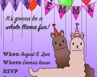 Whole Llama Fun Girl's Birthday Invitation > Printed for you or Digital download