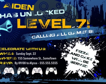 Level [#] Unlocked! Birthday Invitation > Printed for you or Digital download