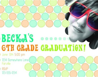 Dots Graduation Invitation > Printed for you or Digital download