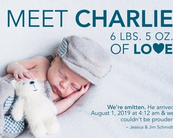 Bold Love Birth Announcement > Printed for you or Digital download