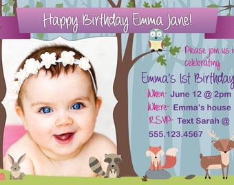 Cute Woodland Animals Girl Birthday Invitation > Printed for you or Digital download