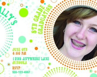Bubbles Graduation Invitation > Printed for you or Digital download