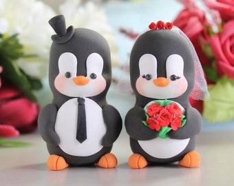 Custom Penguin cake toppers wedding - LARGER size - bride groom figurines animals cute unique funny gift for penguins lover red yellow black