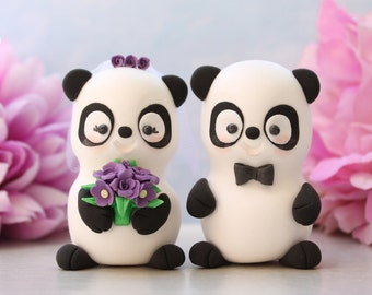 Bride and groom wedding cake toppers Panda - unique figurines funny personalized elegant gift black white purple white wedding decorations