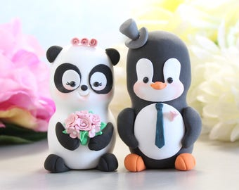 Unique wedding cake toppers Panda, Penguin - funny bride and groom figurines wedding gift personalized elegant black white pink navy blue