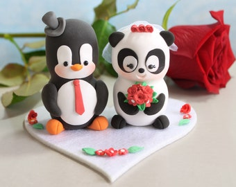 Unique wedding cake toppers Panda and Penguin - red burgundy black white cute bride and groom figurines burgundy personalized elegant