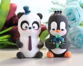 Unique wedding cake toppers Panda and Penguin - cute bride and groom figurines burgundy red brown blue cute personalize elegant black white