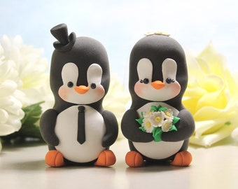 Wedding cake toppers figurines, Penguins - LARGER size - bride groom daisies rustic spring summer animals cute unique funny gift red white