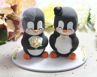 XL Extra LARGE wedding cake toppers or centerpieces Penguins bride groom figurines + oval base - decorations table cream ivory gold