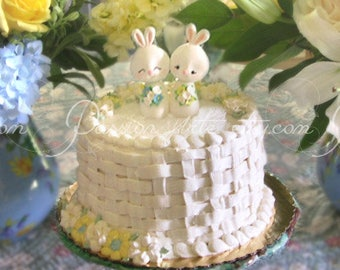 Unique Bunny wedding cake toppers - bride groom figurines rabbit elegant rustic country light blue yellow white cute funny farm animals