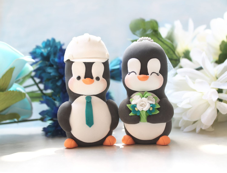 Custom Penguin cake toppers wedding construction hard hat ...