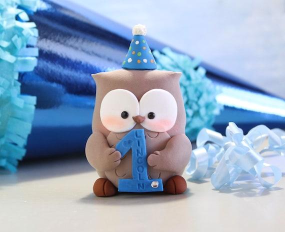 Fantastic Owl Birthday Cake Topper Personalized Figurine First Etsy Funny Birthday Cards Online Amentibdeldamsfinfo