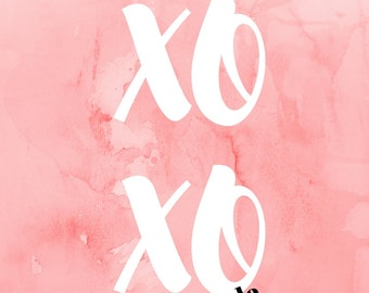 "Instant Valentines XOXO, Print, Printable Wall Art, Valentines Printable, Hugs and Kisses Download, 8.5x11"", Pink Wall Decor, Wedding Gift"