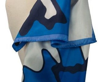 1970s Blue White & Black Abstract Asymetrical Jagged Striped Retangular Vintage Scarf Scarves