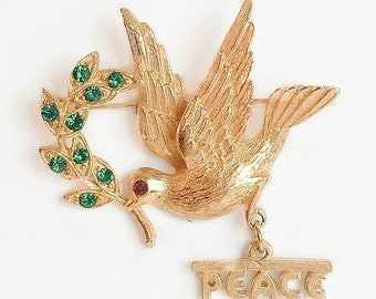 Golden Dove /& Olive Branch Pin by Guiste