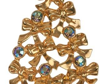 1992 AVON Christmas Tree Pin Brooch Gold Tone Ribbon Bows Aurora Borealis Rhinestones Vintage Holiday Pin Brooch